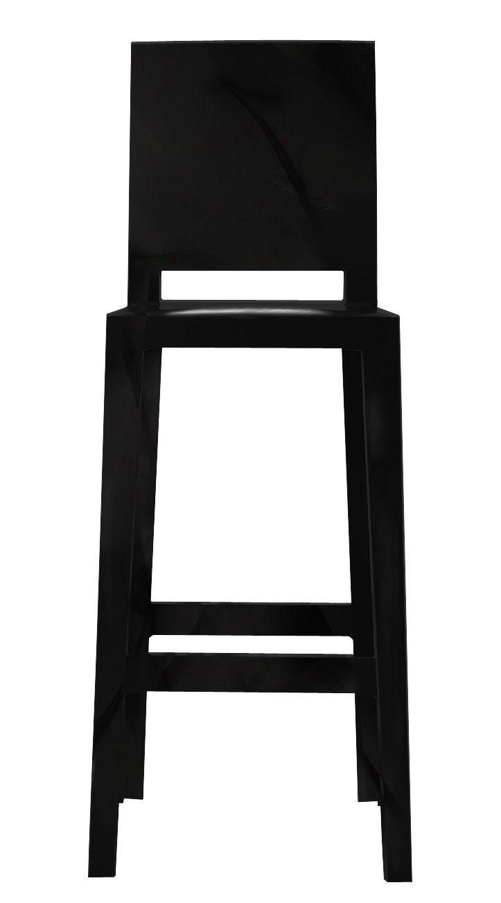 chaise de bar one more please h 65cm plastique noir kartell. Black Bedroom Furniture Sets. Home Design Ideas