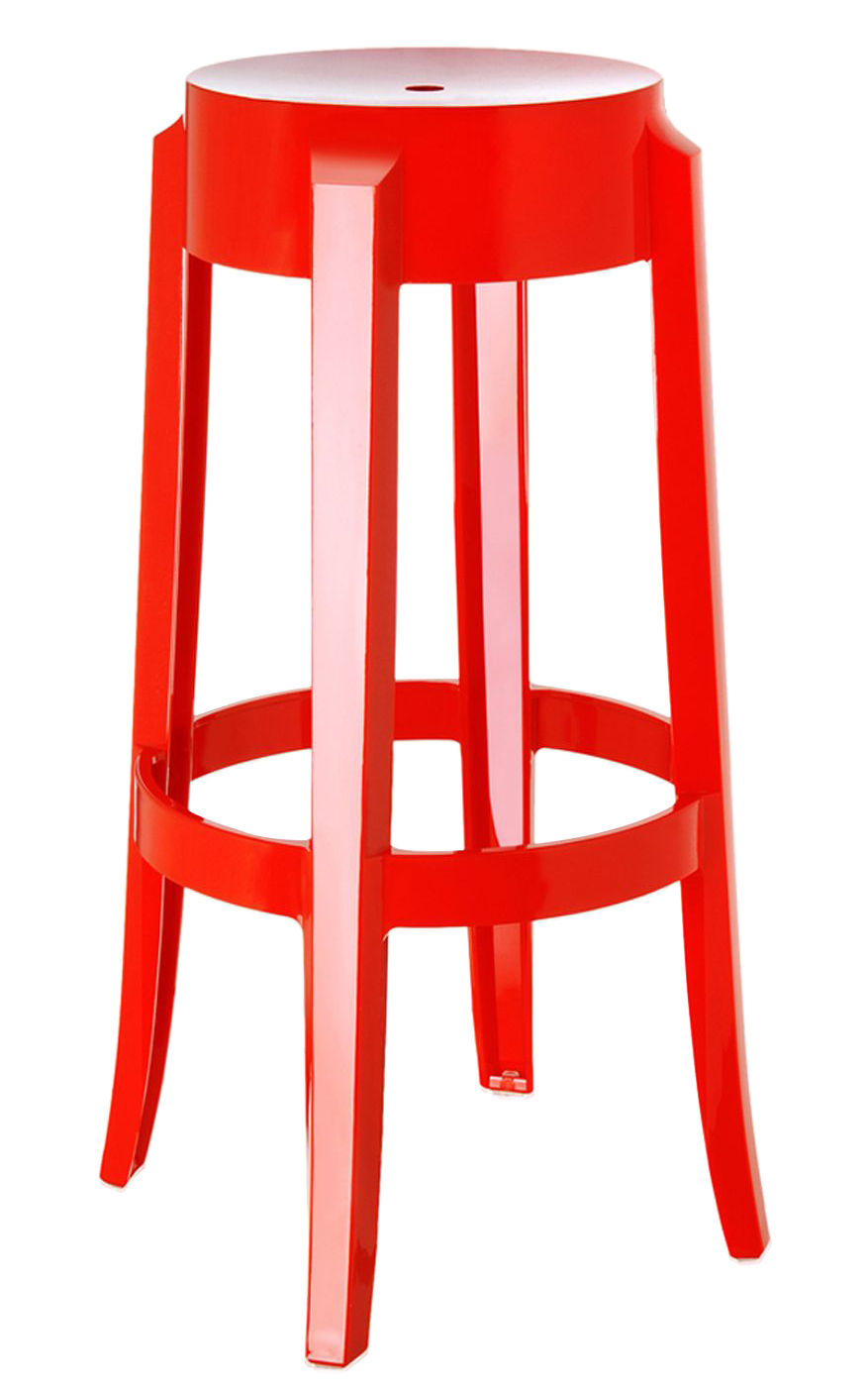 Tabouret haut empilable charles ghost h 75 cm plastique rouge opaque kartell - Tabouret plastique empilable ...
