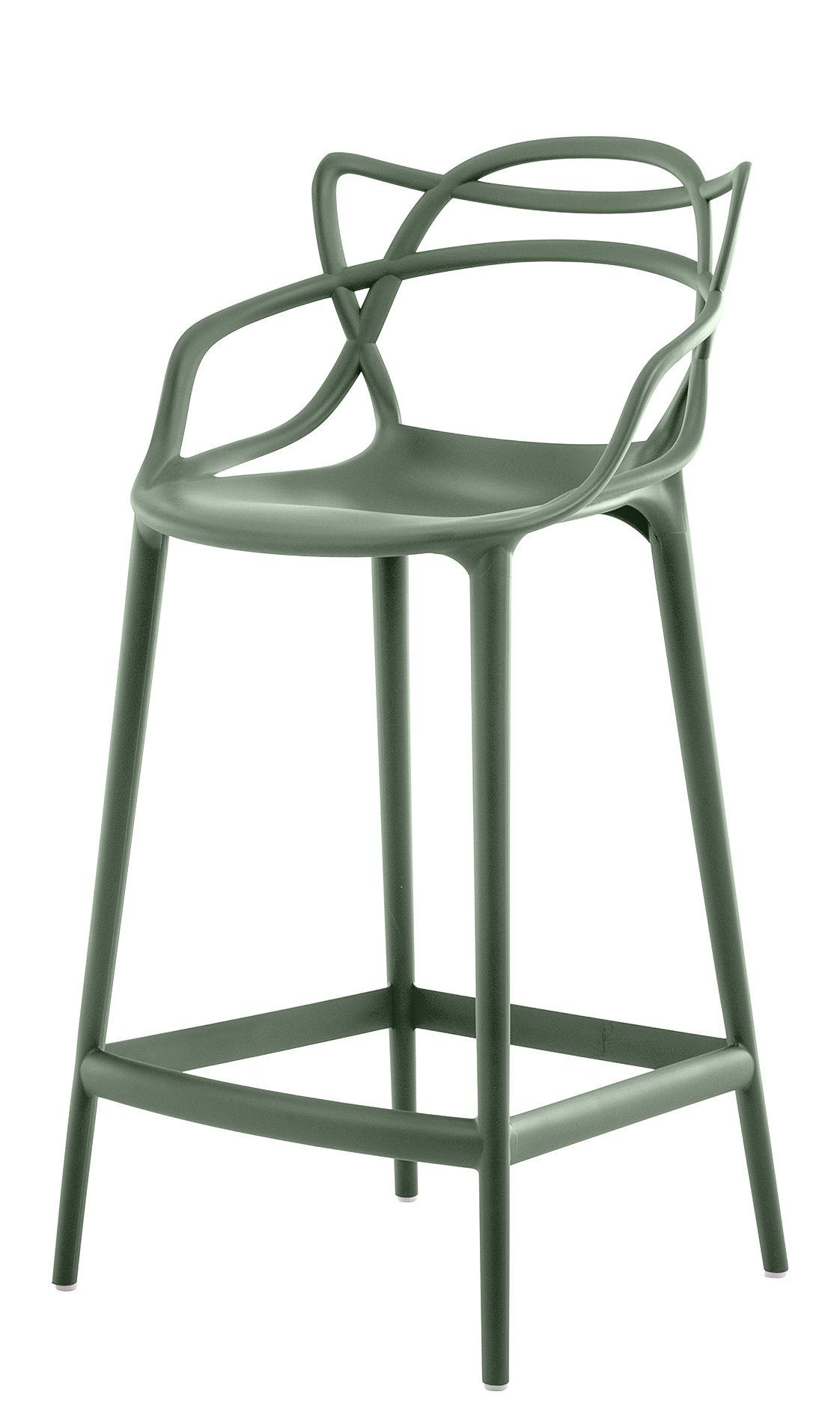 Chaise de bar masters h 65 cm polypropyl ne vert sauge kartell - Fauteuil haut de bar ...