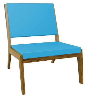 Foto Poltrona bassa Room 26 di Quinze & Milan - Azzurro,Rovere - Materiale plastico