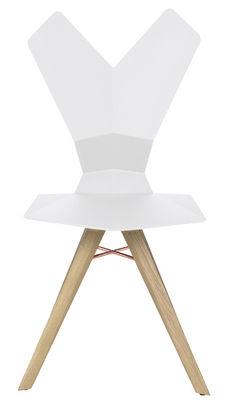 Chaise y assise plastique pieds bois coque blanche pi tement bois n - Chaise pied bois assise plastique ...