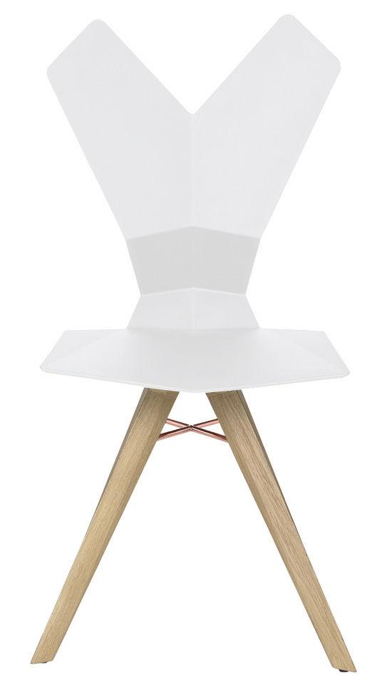 Chaise y assise plastique pieds bois coque blanche - Chaise pied bois assise plastique ...