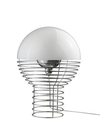 Foto Lampada da tavolo Wire Small - H 42 cm - Panton 1972 di Verpan - Bianco - Metallo