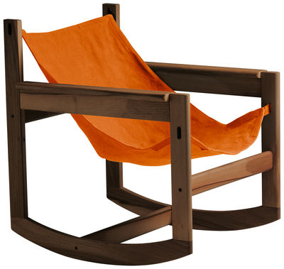 Foto Rocking chair Pelicano di Objekto - Paprika,Legno scuro - Tessuto