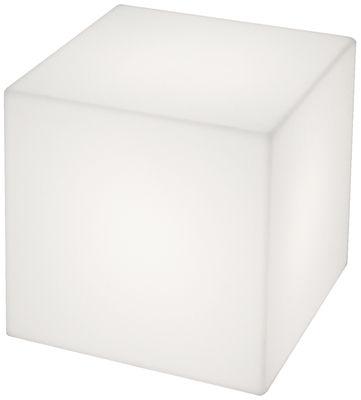 Foto Tavolino luminoso Cubo - outdoor di Slide - Bianco - Materiale plastico