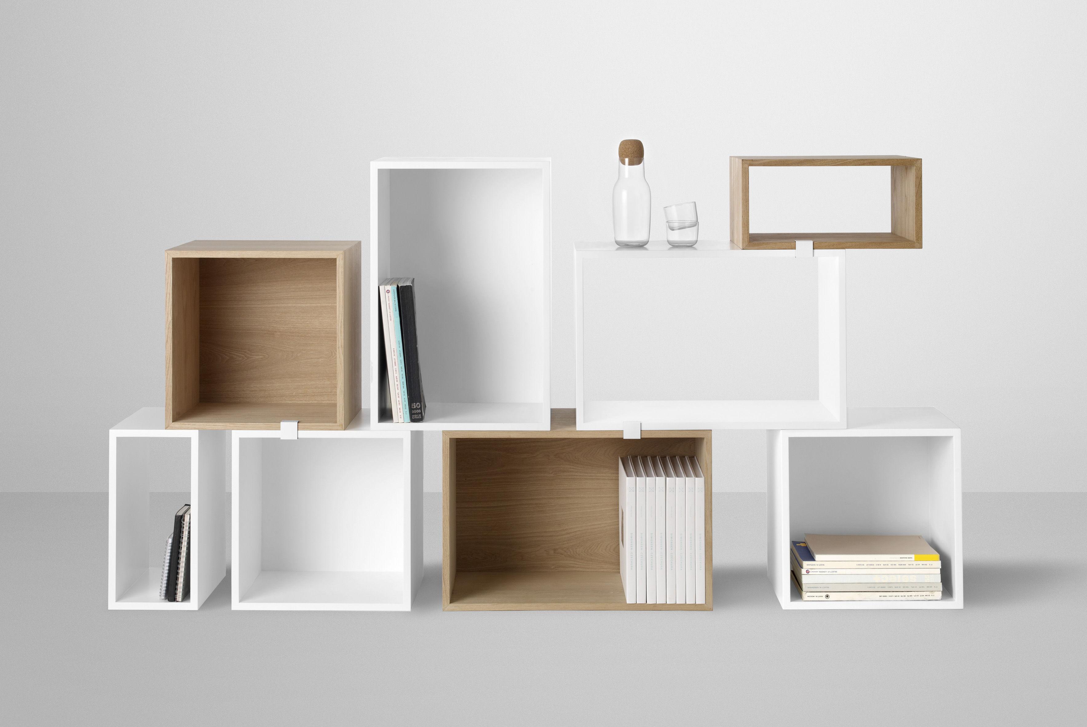 stacked regal rechteckiges modul grose l mit ruckwand muuto weis ebay. Black Bedroom Furniture Sets. Home Design Ideas