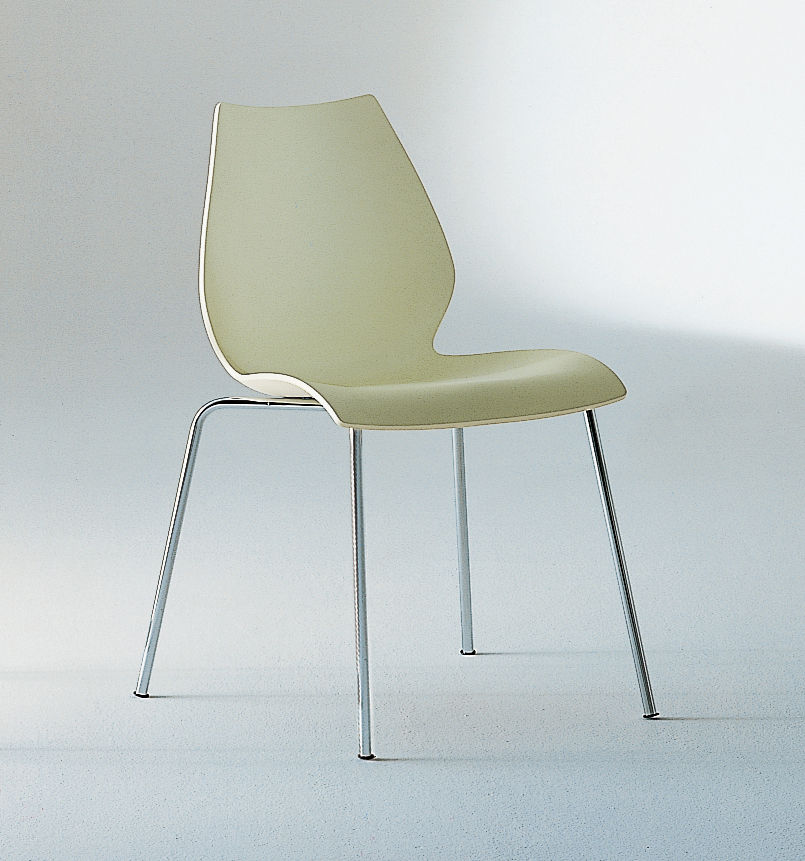 maui stackable chair plastic seat metal legs green by