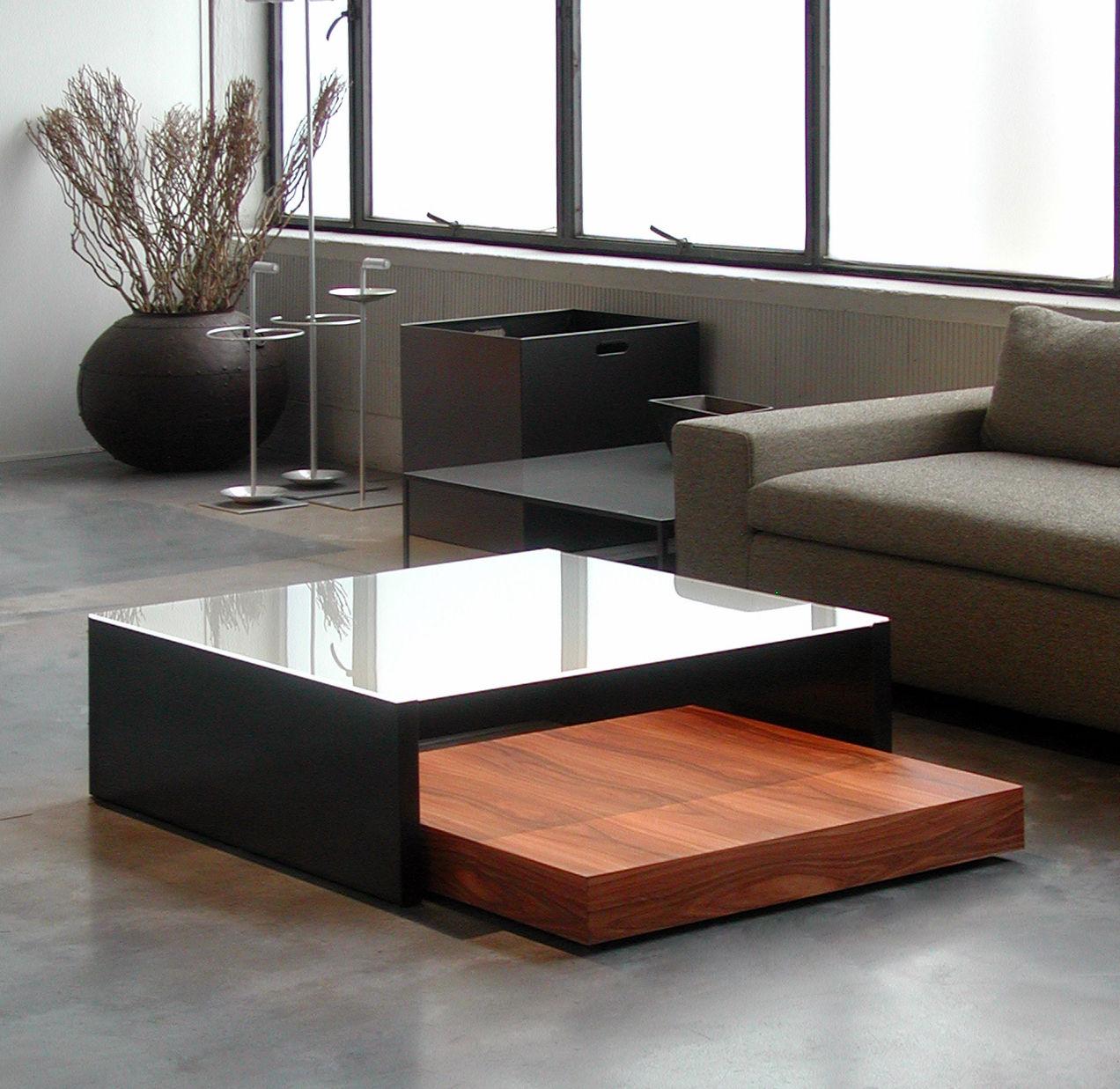 Table basse fred wilma verre acidifi acier noir for Table basse acier noir