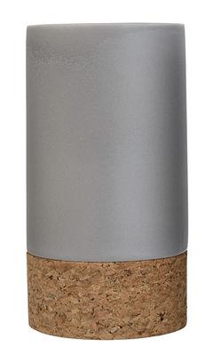 Foto Vaso / Ceramica, sughero & cuoio - Ø 13 x H 24 cm - Bloomingville - Grigio,Sughero - Ceramica