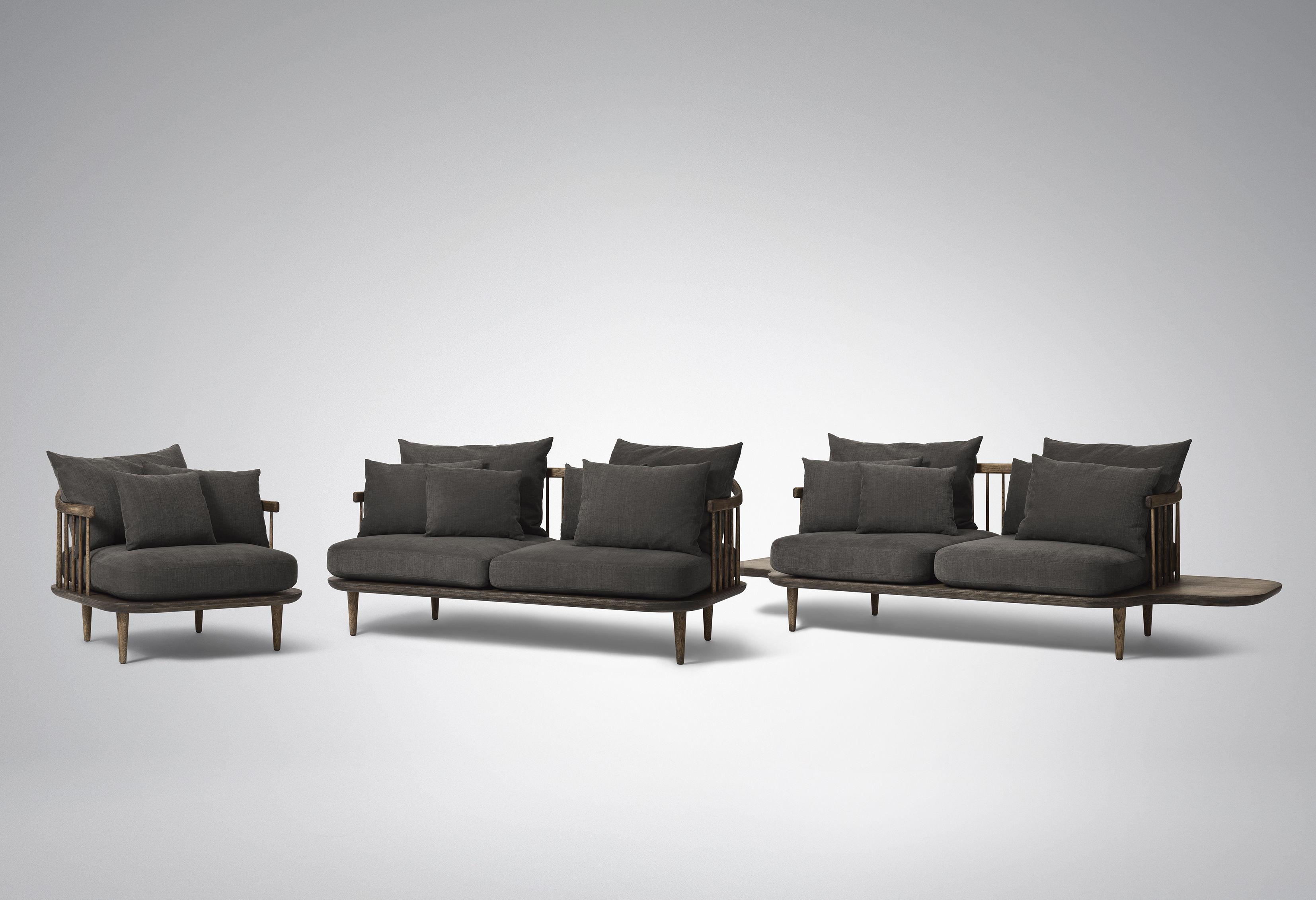canap droit fly 2 places l 240 cm bois fonc coussins gris fonc and tradition. Black Bedroom Furniture Sets. Home Design Ideas