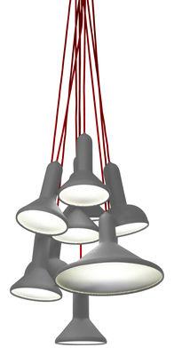 Foto Sospensione Torch - ensemble di 10 lampade a sospensione di Established & Sons - Grigio - Materiale plastico