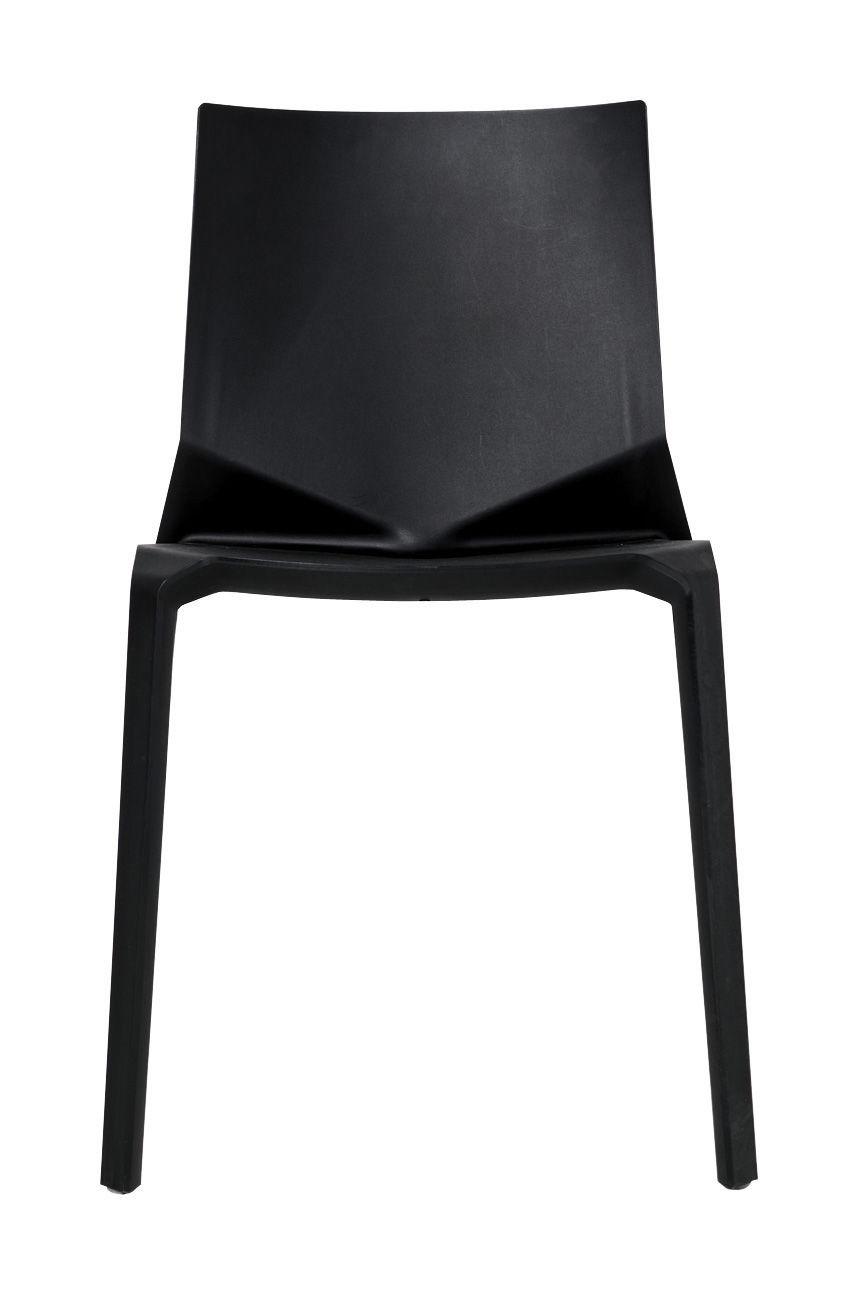 Chaise empilable plana plastique noir kristalia for Chaise plastique noir