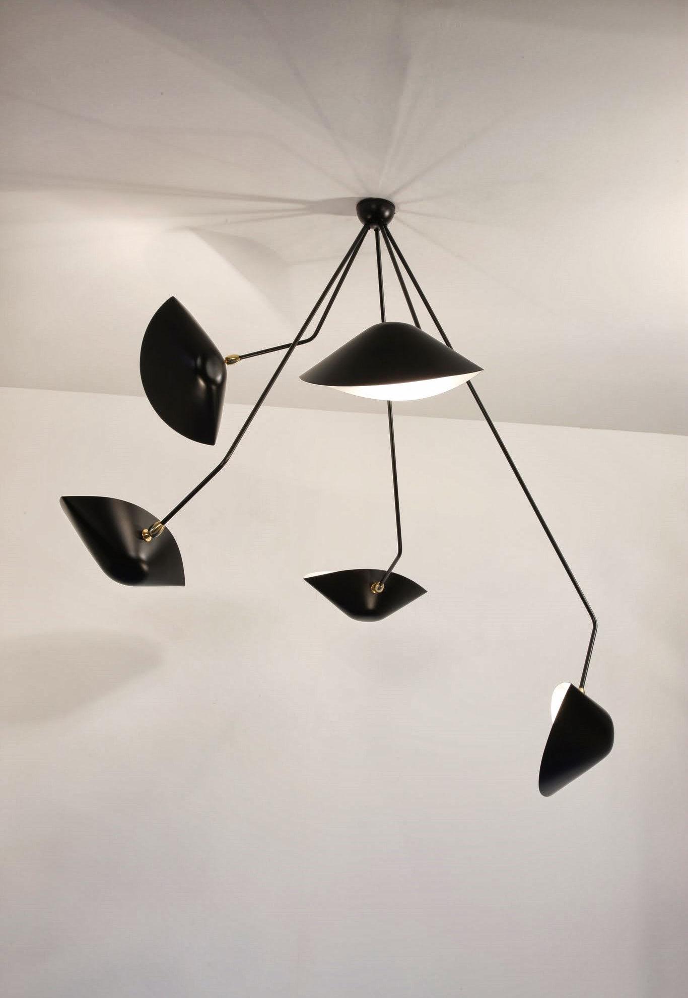 Plafonnier araign e 5 bras fixes 1954 noir serge mouille - Plafonnier design pour salon ...