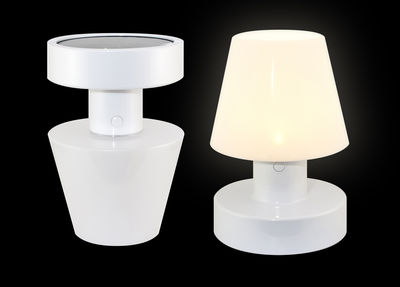lampe solaire sans fil h 20 cm blanc bloom. Black Bedroom Furniture Sets. Home Design Ideas
