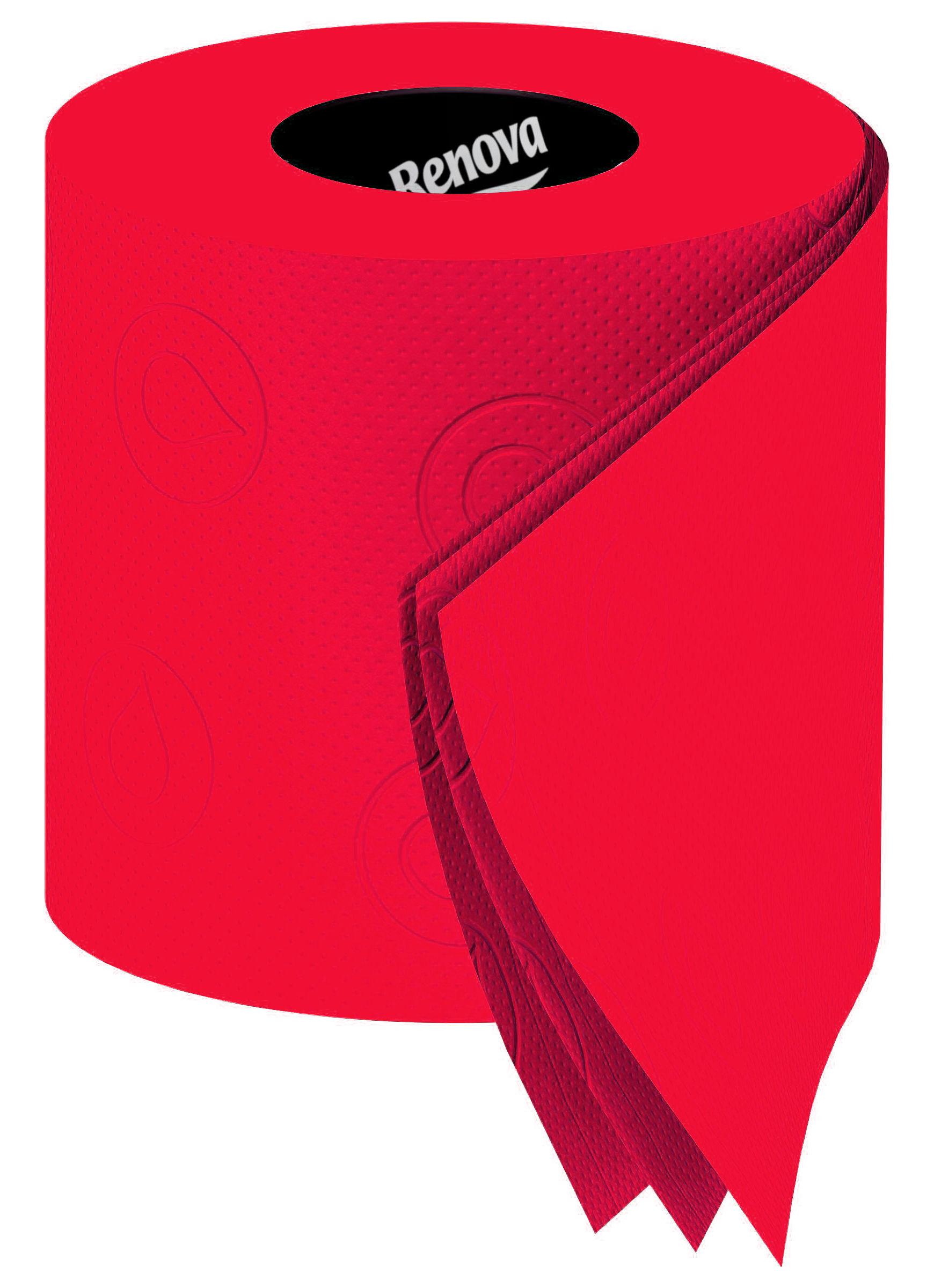 Papier toilette 6 rouleaux rouge 6 rouleaux renova - Papier toilette colore ...