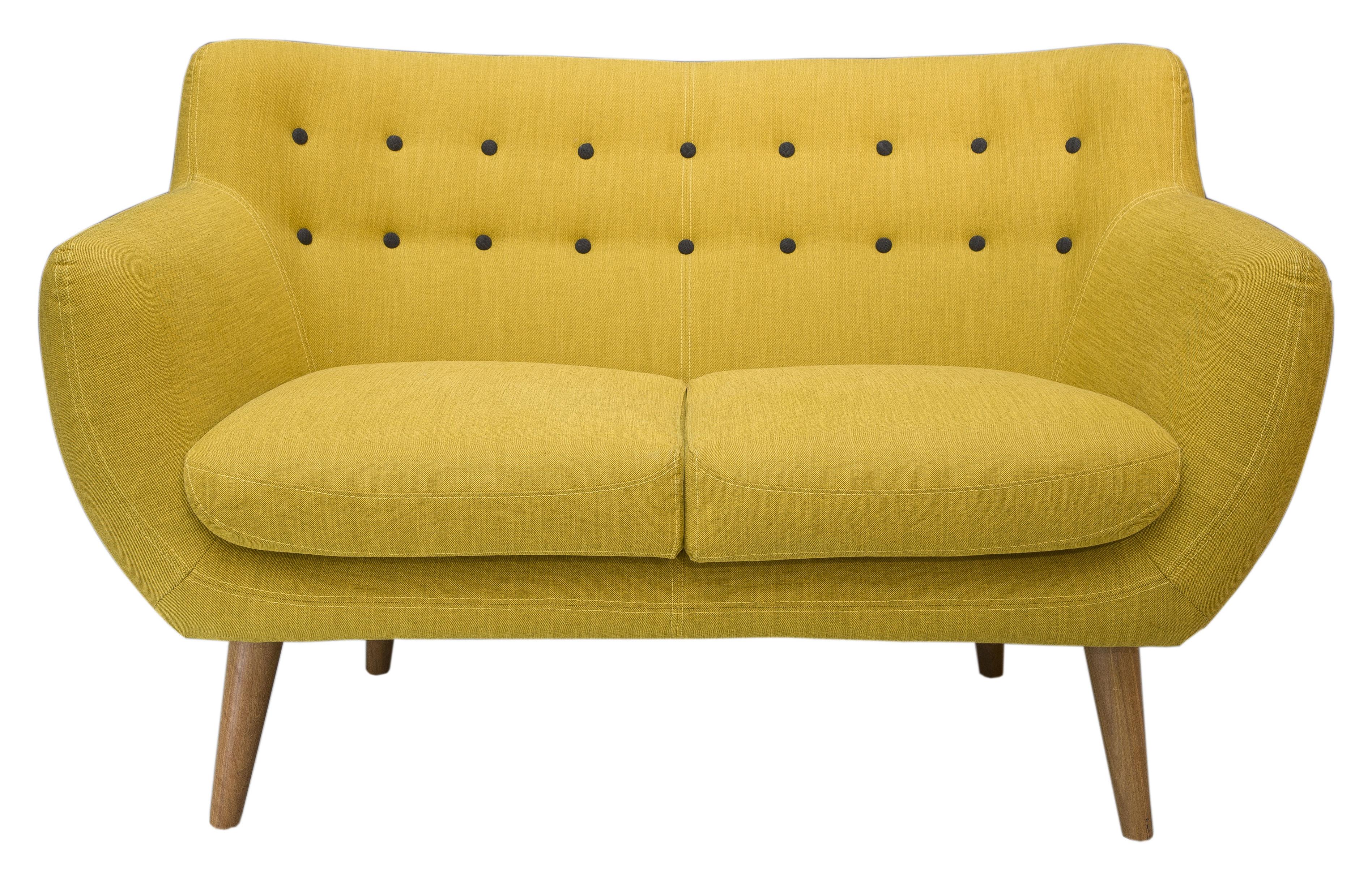 canap droit coogee 2 places l 132 cm jaune citron boutons noir de jais sentou edition. Black Bedroom Furniture Sets. Home Design Ideas