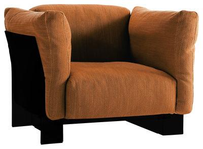 Poltrona imbottita Pop Duo - Struttura nera di Kartell - Arancione - Materiale plastico