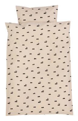 Foto Lenzuola Rabbit Junior / 100 x 140 cm - Ferm Living - Nero,Rosa pallido - Tessuto Biancheria da letto bambino