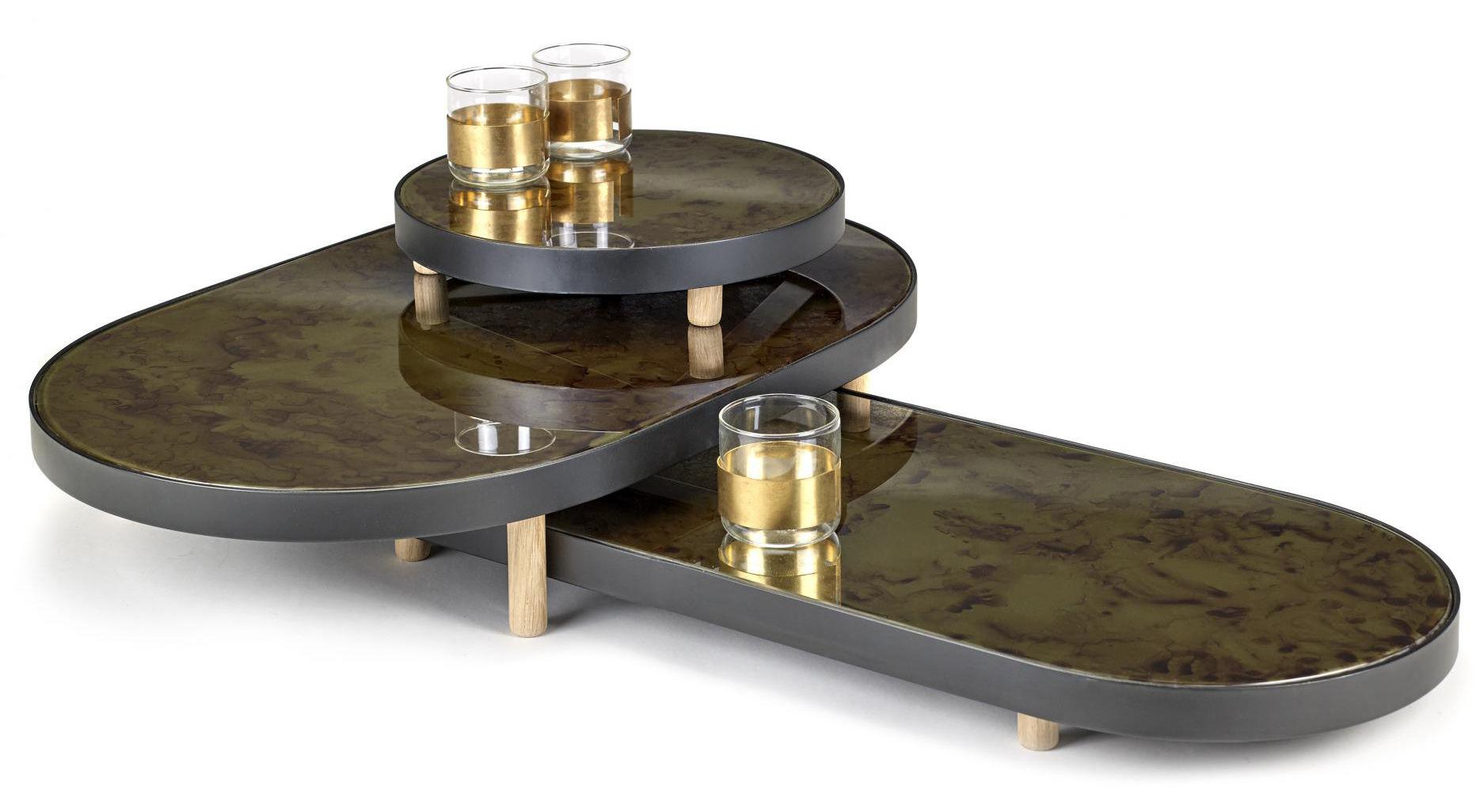 plateau reflect miroir ovale 67 x 41 cm noir miroir pieds bois naturel serax. Black Bedroom Furniture Sets. Home Design Ideas