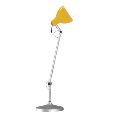 Lampe de bureau Luxy T1 /Bras 3 sections - Rotaliana  Métallisé / Abat-jour jaune brillant