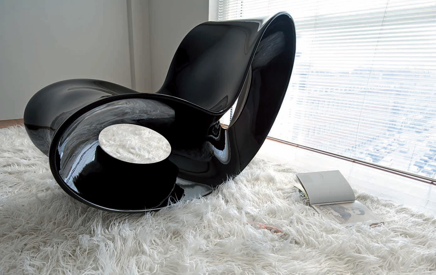 Voido rocking chair lacquered version lacqued black by magis for Magis voido