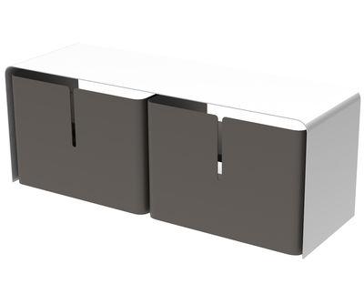 Meuble TV Barber / 2 tiroirs - L 110 cm - Matière Grise blanc,taupe en métal