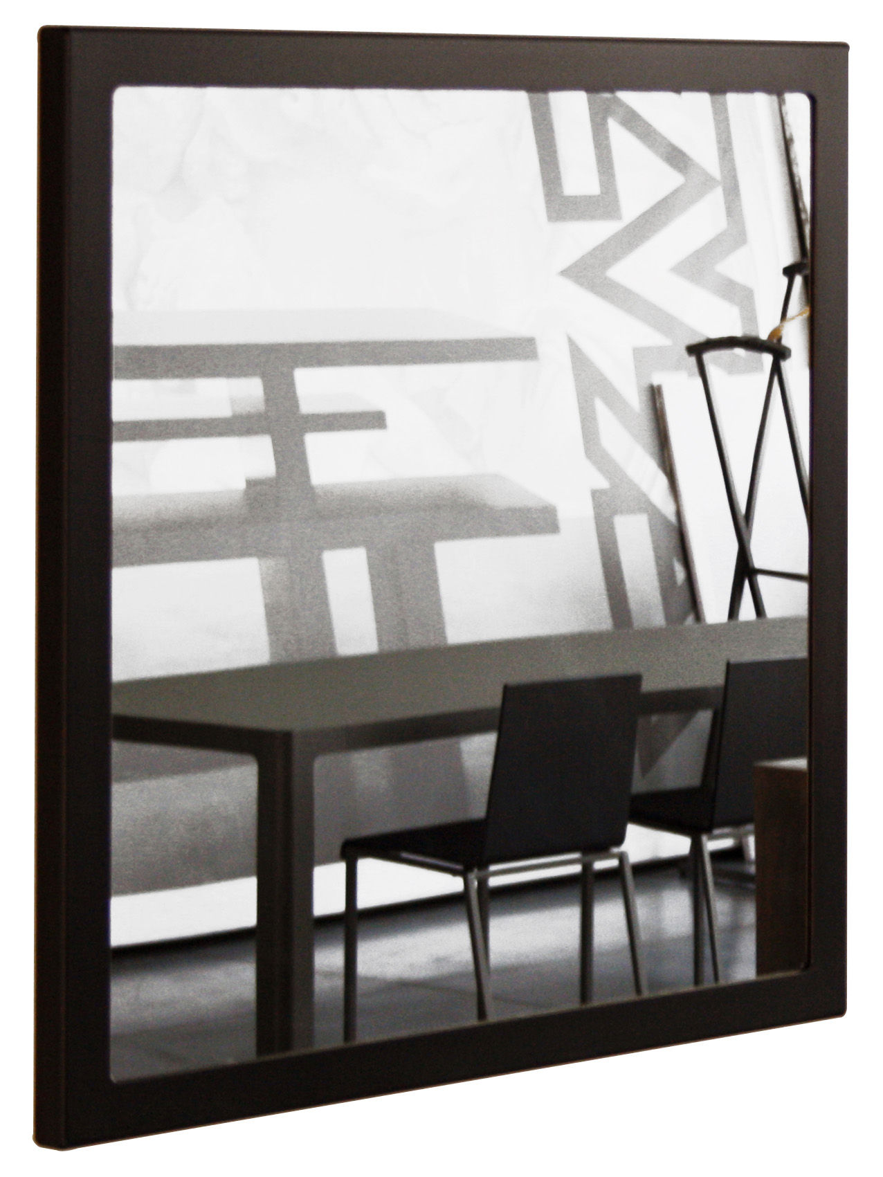 Little frame wall mirror 90 x 90 cm black phosphatized for Miroir 90x90
