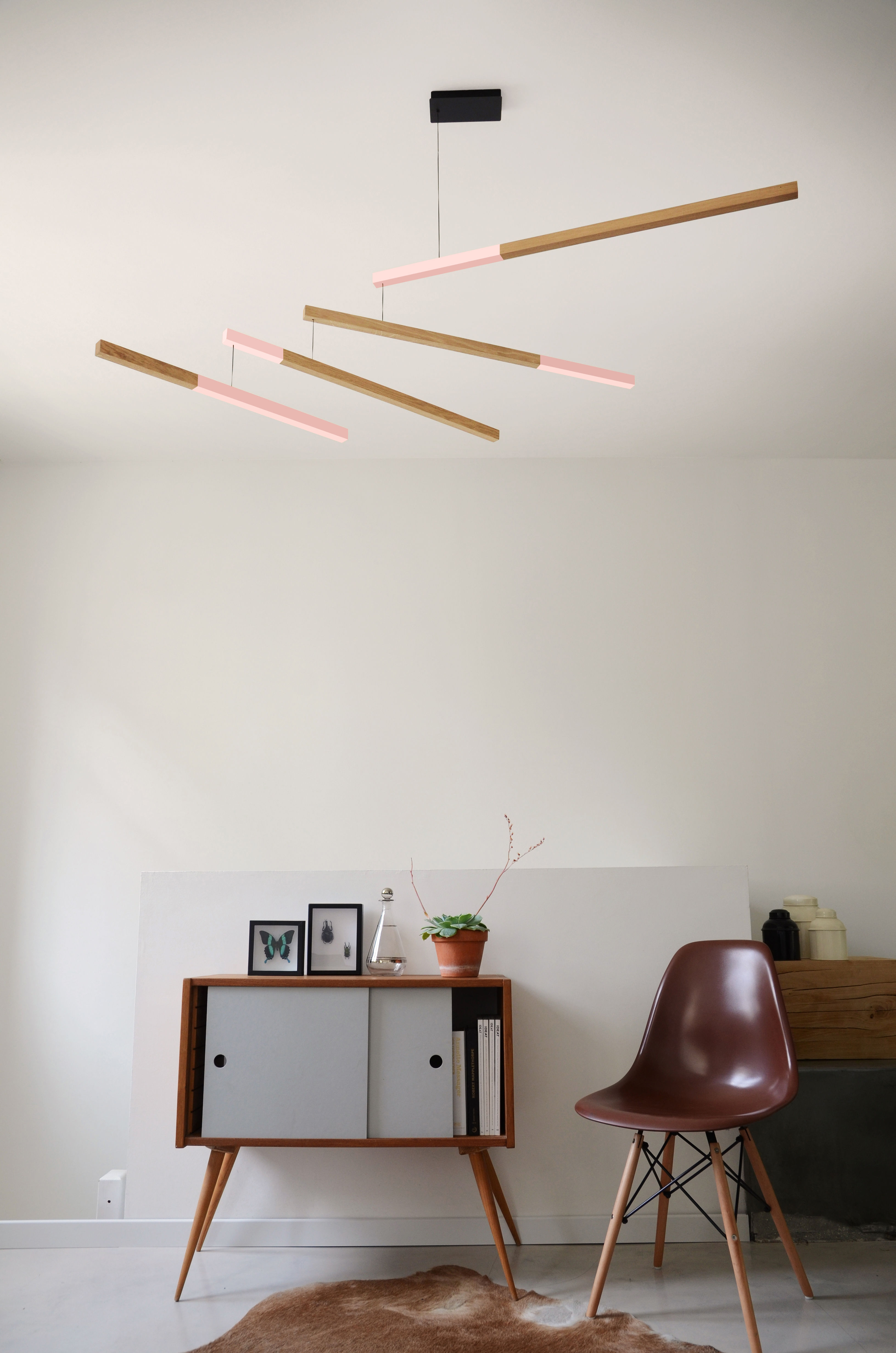suspension tasso nez led ch ne l 155 cm rose bois. Black Bedroom Furniture Sets. Home Design Ideas