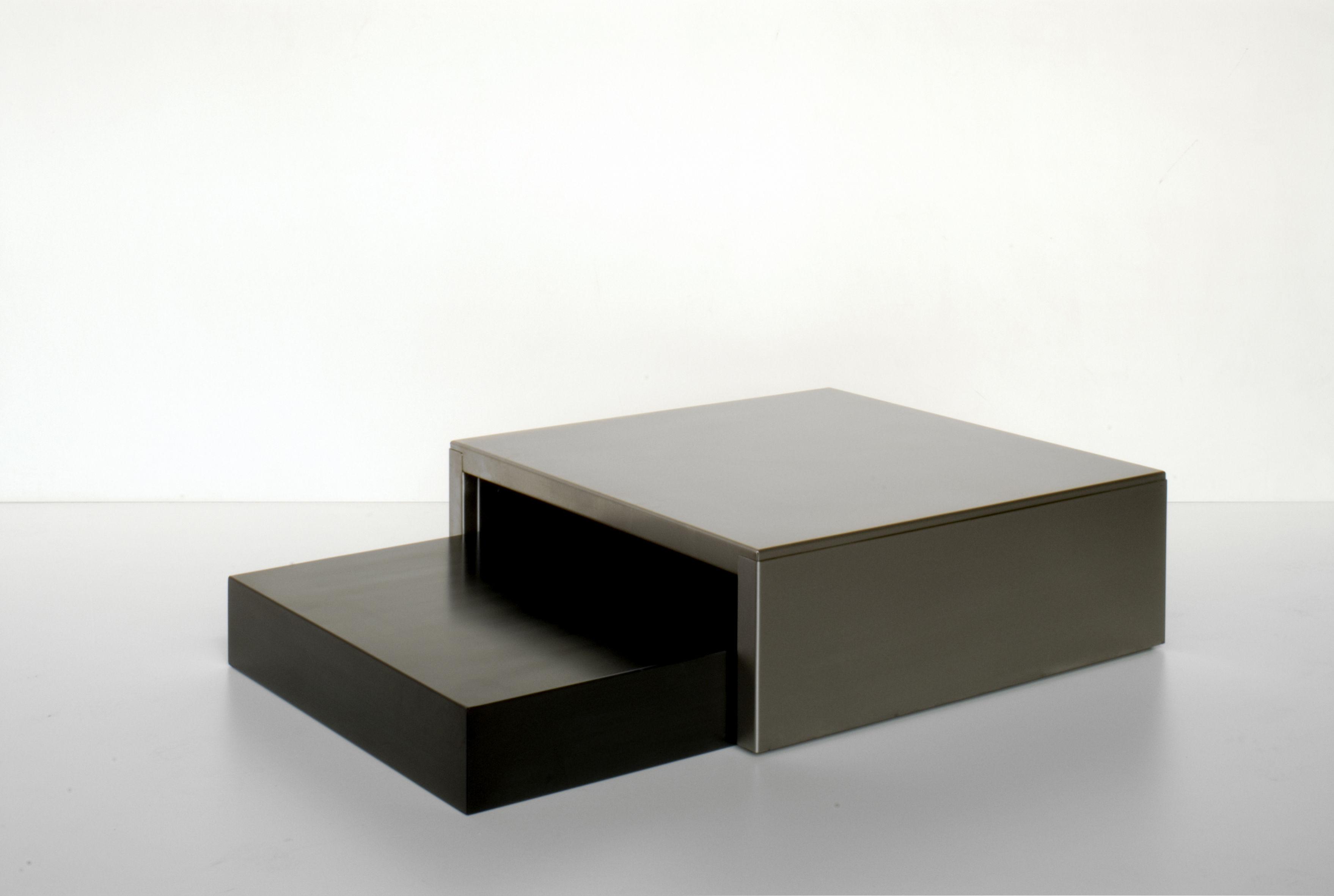 table basse noir et inox. Black Bedroom Furniture Sets. Home Design Ideas