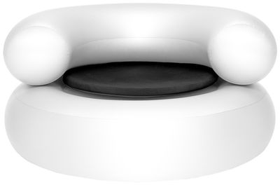 Mobilier - Fauteuils - Fauteuil gonflable Ch-air / Galette d'assise - Fatboy - Fauteuil blanc / galette d'assise gris foncé - PVC, Tissu Sunbrella