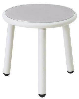 Tavolino Yard - / Ø 40 cm di Emu - Bianco,Inox - Metallo