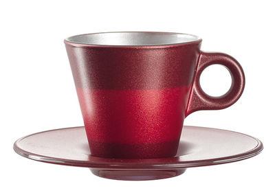 Tasse à espresso Ooh ! Magico et sa soucoupe - Leonardo rouge métallisé en verre