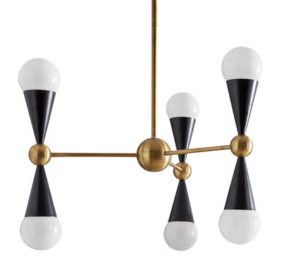 caracas pendelleuchte mit 6 fassungen f r 6 leuchtmittel messing goldfarben schwarz by. Black Bedroom Furniture Sets. Home Design Ideas