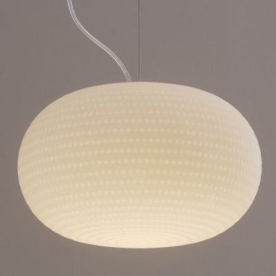 Suspension bianca led verre blanc fontana arte for Luminaire suspension blanc