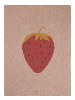 Plaid enfant Fraise 80 x 100 cm Coton Ferm Living rose en tissu