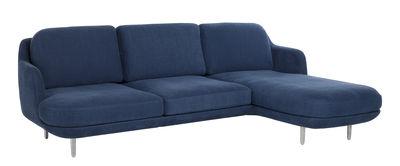 Canapé d´angle Lune / 3 places + méridienne - L 227 cm - Fritz Hansen bleu indigo,aluminium brossé en tissu