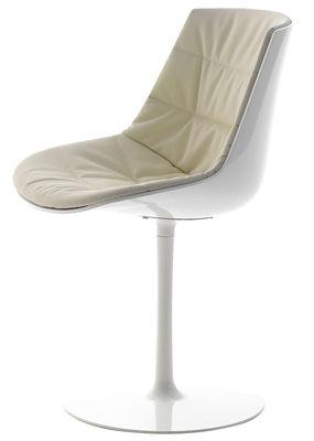 Mobilier - Chaises, fauteuils de salle à manger - Chaise pivotante Flow / Rembourrée - Pied central - MDF Italia - Blanc brillant & rembourrage beige / Piètement blanc - Aluminium laqué, Polycarbonate, Tissu