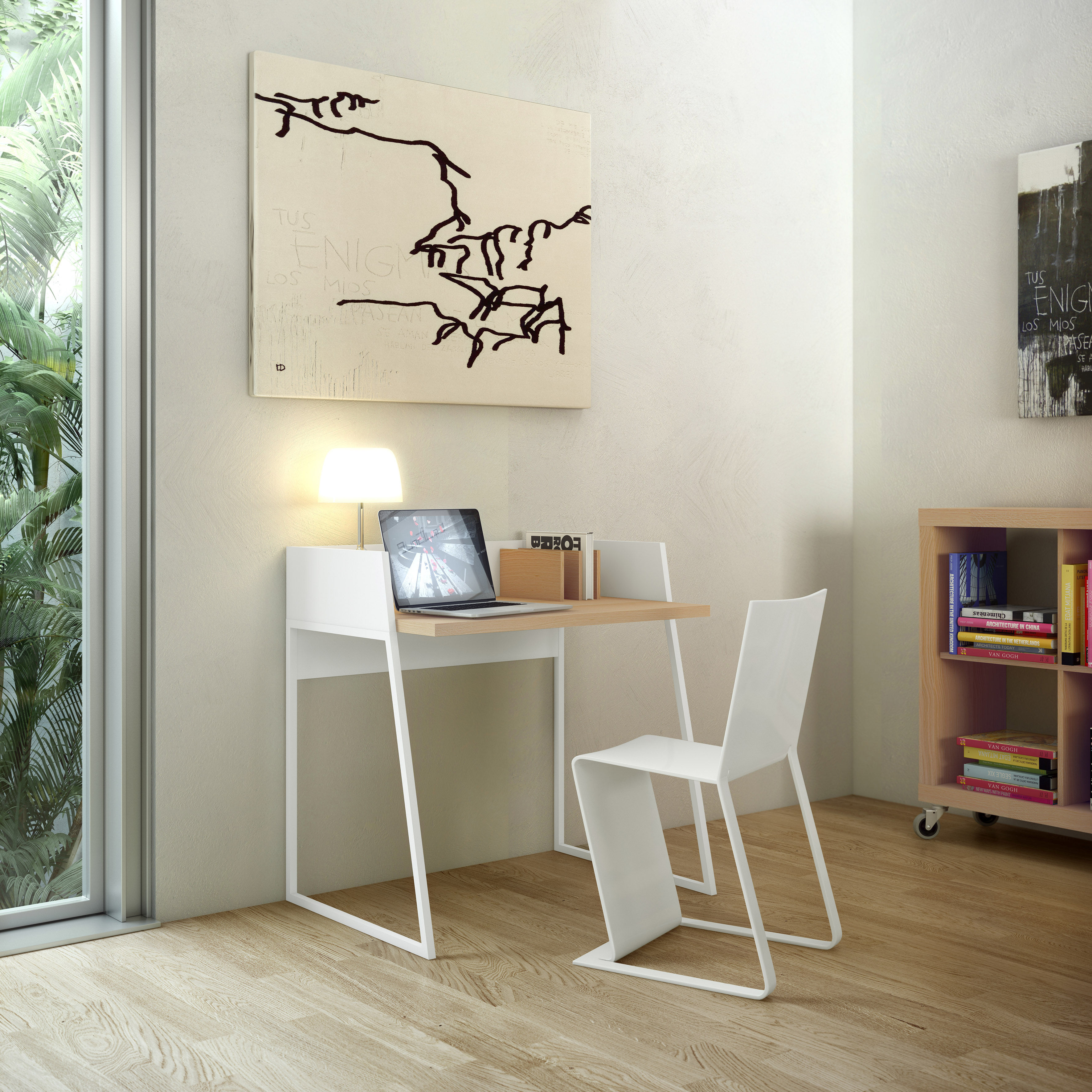 bureau working blanc ch ne pop up home. Black Bedroom Furniture Sets. Home Design Ideas