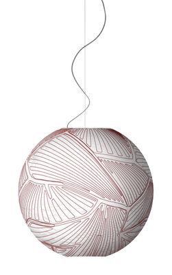 Luminaire - Suspensions - Suspension Planet Small / Ø 55 cm - Halogène - Foscarini - Blanc & coutures rouges / Halogène - Tissu