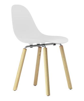 Mobilier - Chaises, fauteuils de salle à manger - Chaise TA / Pieds bois - Toou - Blanc / Pieds bois naturel - Chêne naturel, Métal chromé, Polypropylène