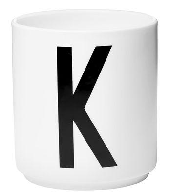Mug Arne Jacobsen / Porcelaine - Lettre K - Design Letters blanc en céramique