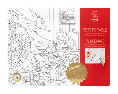 Set de table à colorier Christmas / Lot de 24 - OMY Design & Play blanc,noir en papier