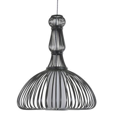 Luminaire - Suspensions - Suspension Pompadour / Bambou - Ø 47 x H 58 cm - Forestier - Noir - Bambou peint, Tissu