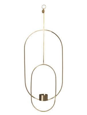 Bougeoir à suspendre Oval / L 18 x H 50 cm - Ferm Living laiton en métal