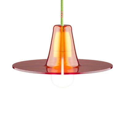 Luminaire - Suspensions - Suspension Jupe Small Ø 24 cm - Skitsch - Orange / Câble vert - Méthacrylate