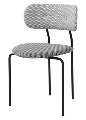 Mobilier - Chaises, fauteuils de salle à manger - Chaise rembourrée Coco / Tissu - Gubi - Tissu noir & blanc - Acier laqué, Contreplaqué moulé, Mousse, Tissu