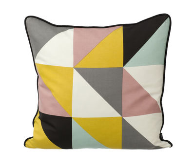 Decoration - Cushions & Poufs - Remix Cushion by Ferm Living - Yellow, old pink, greys, eggshell white - Black reverse - Silk