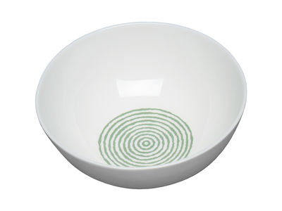 Arts de la table - Saladiers, coupes et bols - Bol Acquerello Ø 16,5 cm - A di Alessi - Blanc & vert - Porcelaine Bone China