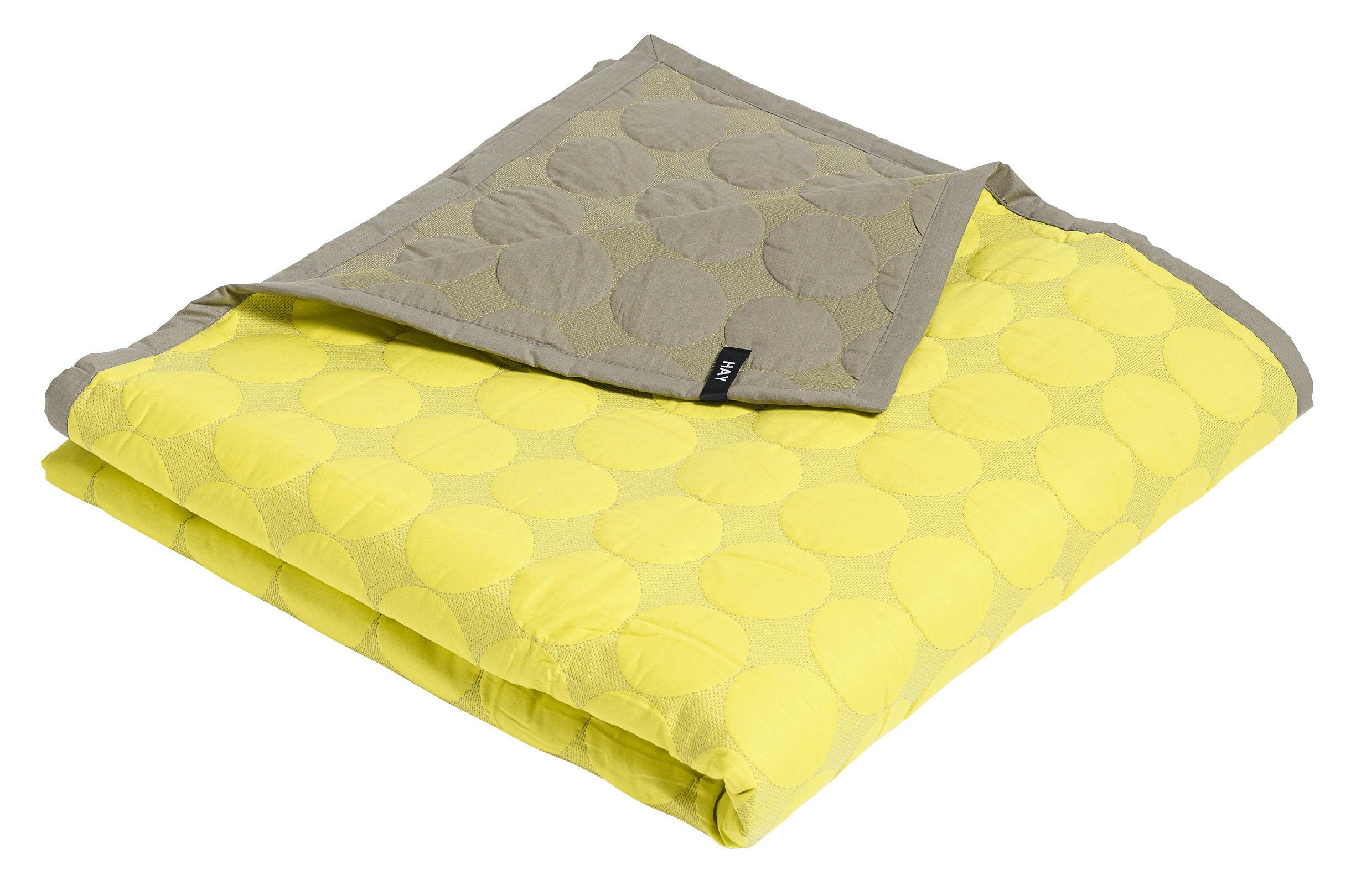 plaid mega dot 245 x 235 cm jaune gris hay. Black Bedroom Furniture Sets. Home Design Ideas