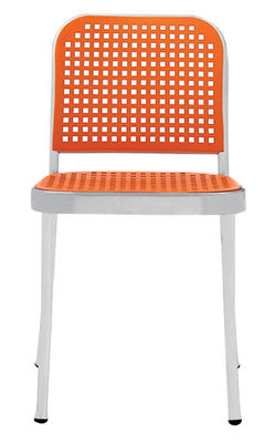 Furniture - Chairs and high armchairs - Silver Chair - Aluminium & plastic by De Padova - Shining alu/ Orange - Polished aluminium, Polypropylene